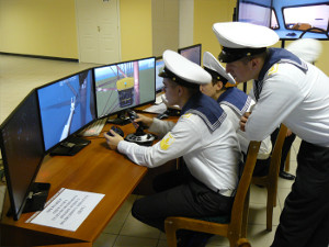 Russian students at the controls of STORM Ltd.'s new ROVsim² O&G simulator.